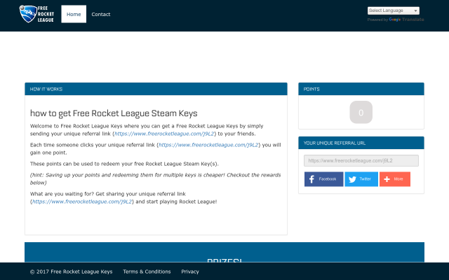 Click to earn free rocket league keys!