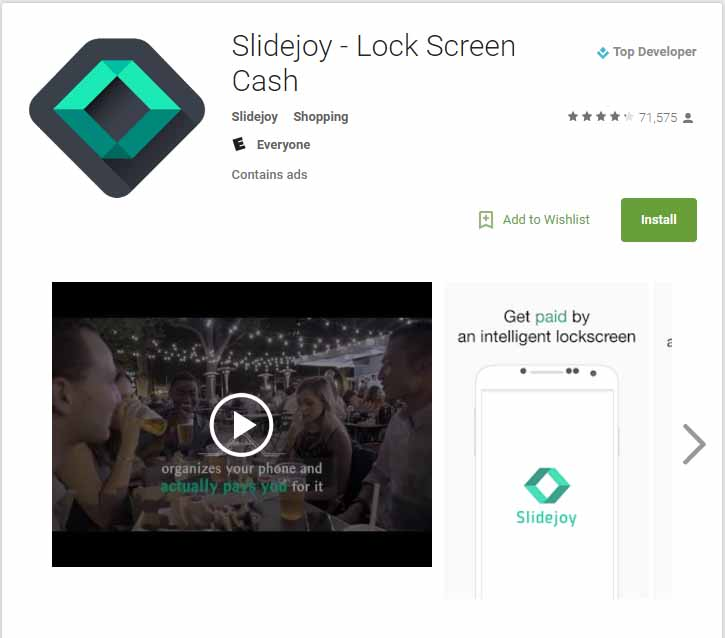 Get 100 Points on slidejoy lock screen app through my link
