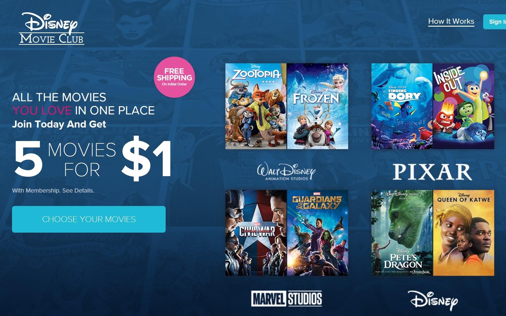 Get 5 Disney, Marvel, or Star Wars Blu-Rays or DVD