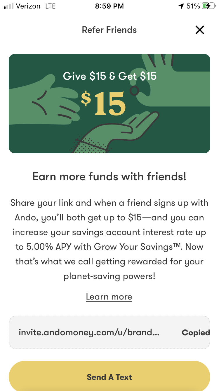 Get $15 For Signing Up With Ando Online Bank