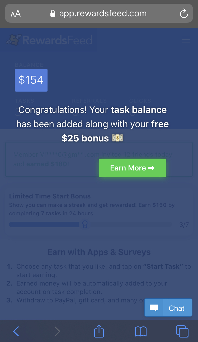 Use link for free $25 when joining rewardsfeed.com
