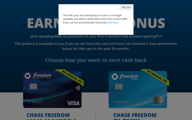 Earn $200 cash back with Chase Freedom Unlimited or Chase Freedom Flex credit card.