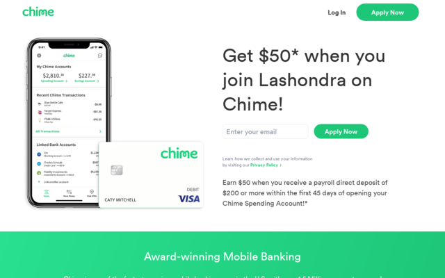 Easy banking and get your check 2 days early using chime.