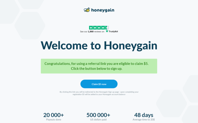 Get $5 for free with Honeygain