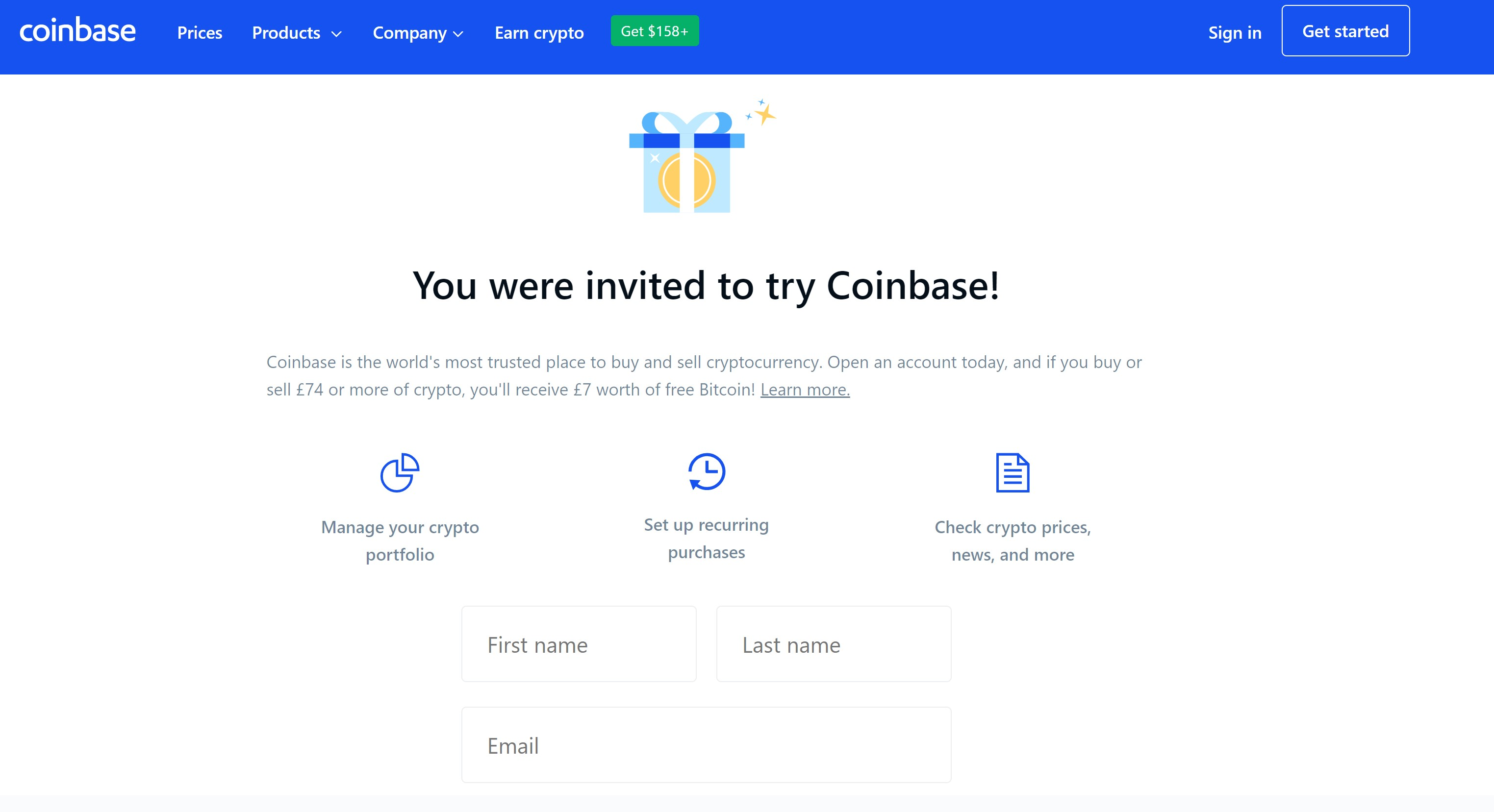 Coinbase $10 Sign up Bonus