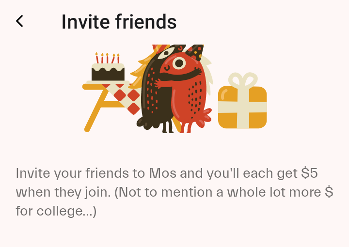 Get $5 when you sign up for an account with MOS