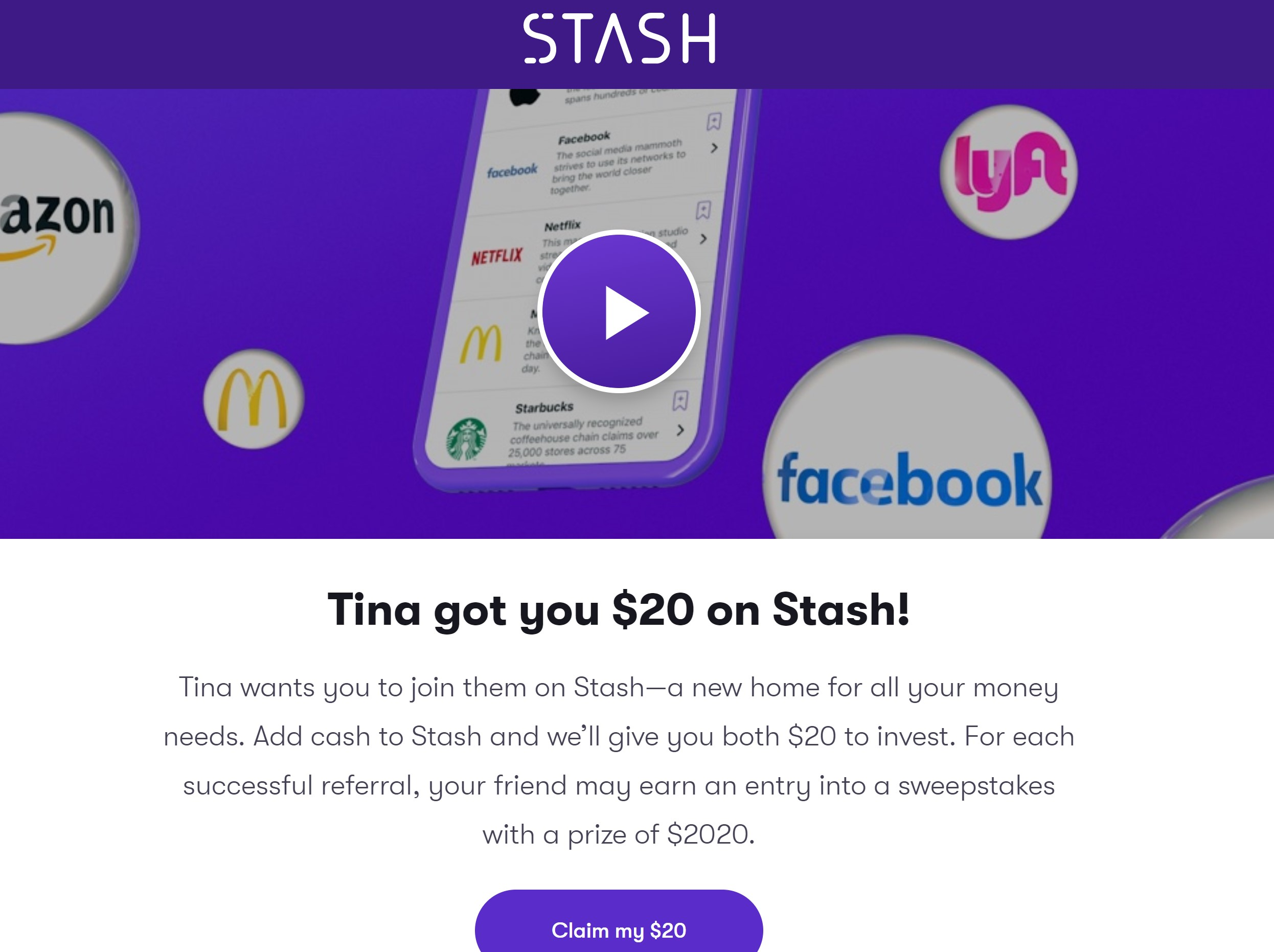 Get $20 when you invest $0.01 with Stash