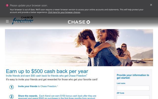 Chase Freedom Credit Card referral $50 each