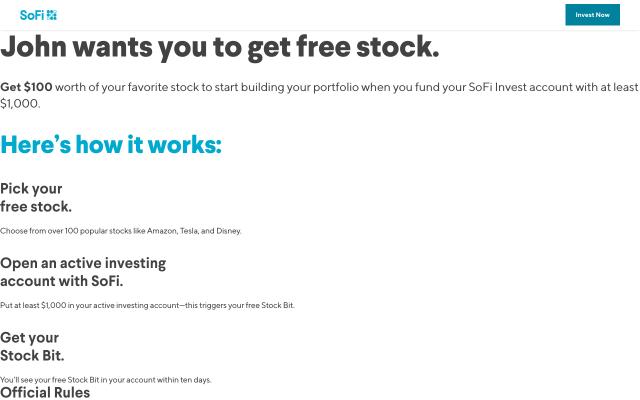 Invest $100 Stock Bonus