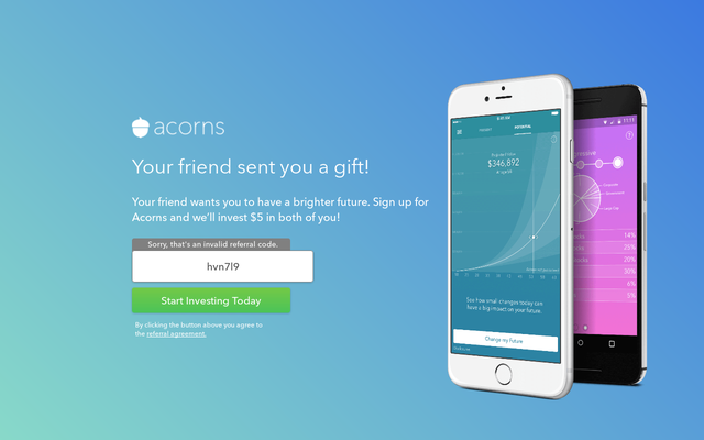 Get $5 Cash with Acorns Sugn Up Bonus