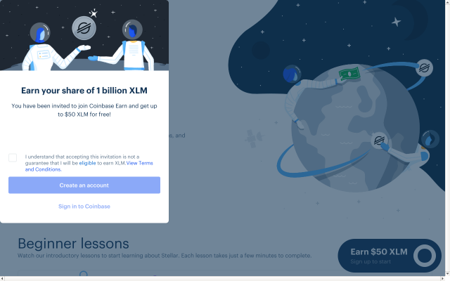 Earn easy XLM 10$ Coinbase Earn