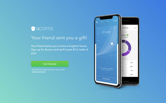 Signup with Acorns and grow your investment