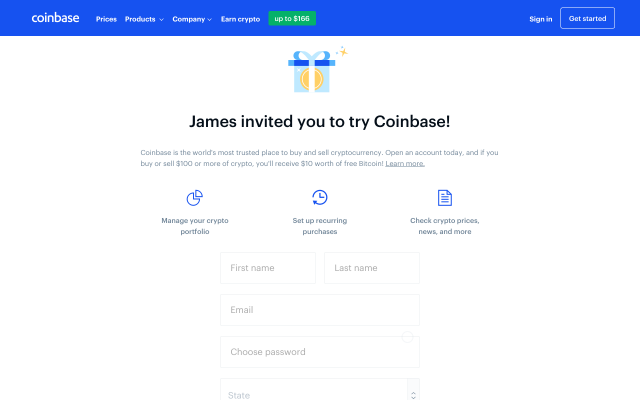 $10 Free Bitcoins through coin base