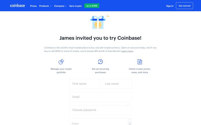 $10 Free Bitcoins through coin base
