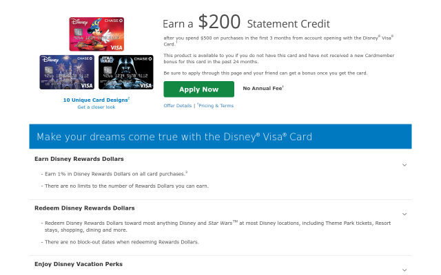 Chase Disney Credit Card with NO ANNUAL FEE