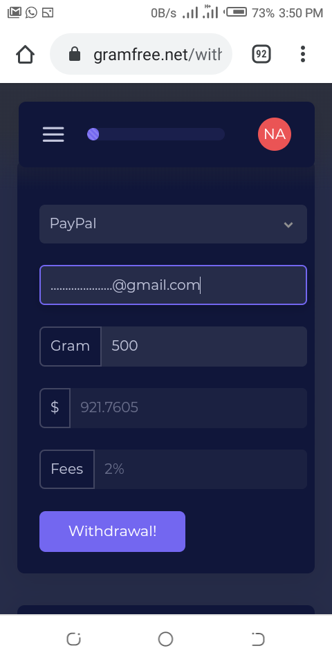 Earn 10 gram equivalent $30 on sign up and 5 gram per referral equivalent $15 and 1gram equivalent $2 per hour withdraw method in Bitcoin, PayPal, MasterCard, Visa Card, American Express, Payoneer, Payer...instantly