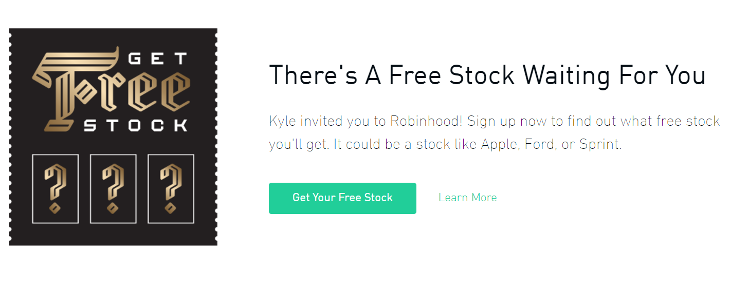 Join Robinhood and we'll both get a share of stock like Apple, Ford, or Sprint for free. Make sure you use my link.