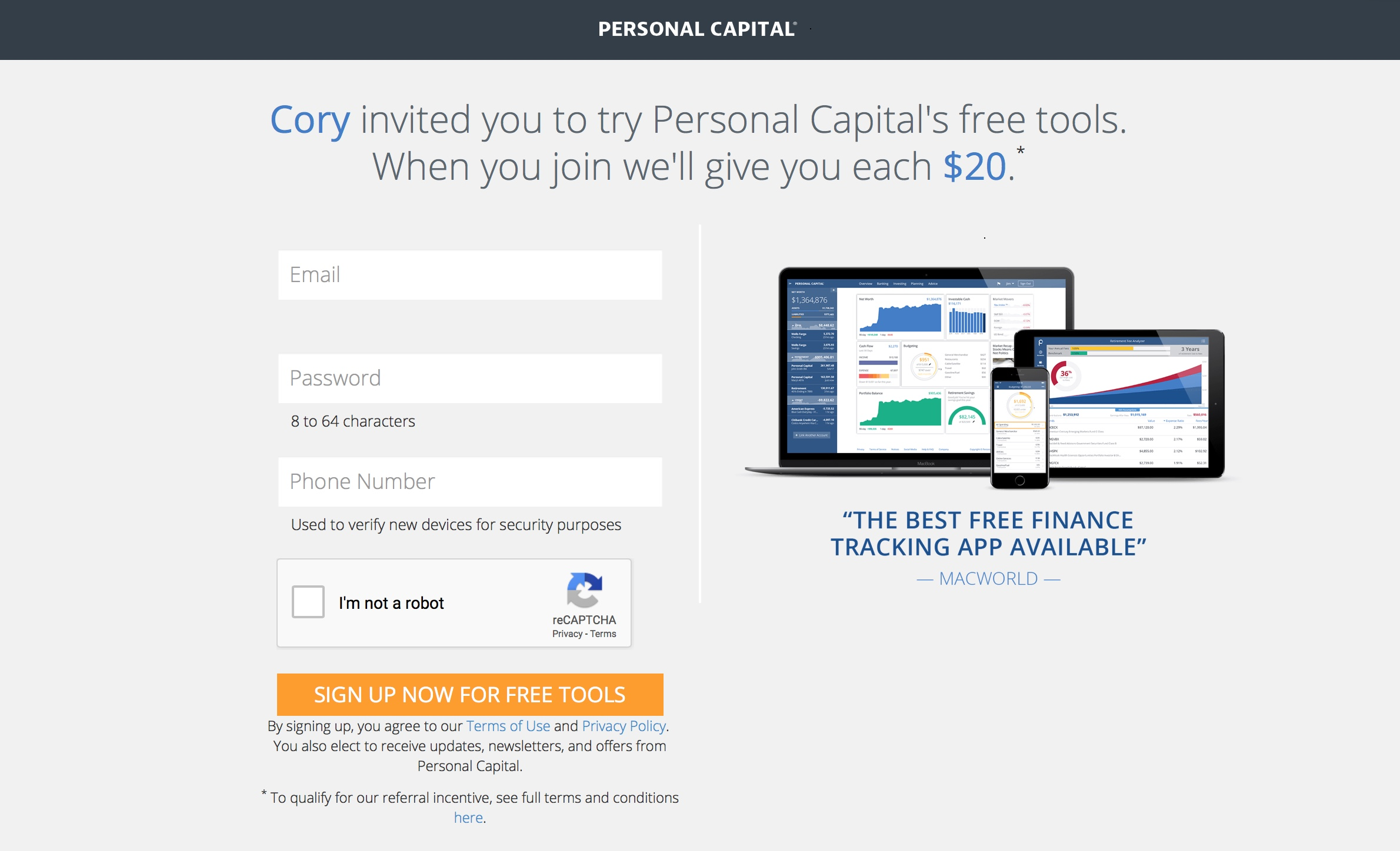 Join Personal Capital for Free and Get $20 Amazon Gift Card