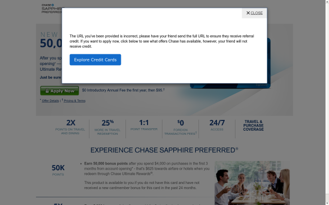 Earn 50,000 bonus points with Chase Sapphire Preferred - That's $625 in travel!!!