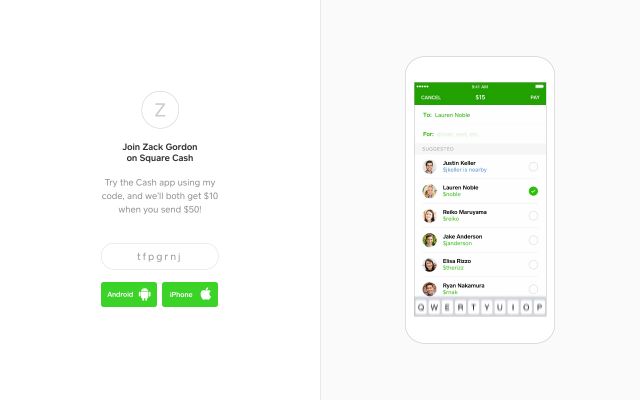 Square Cash App $10 after sending $50