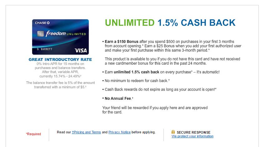 Chase Freedom Unlimited Referral