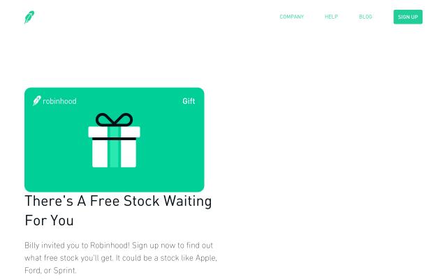 Free stock from Robinhood stock brokerage!