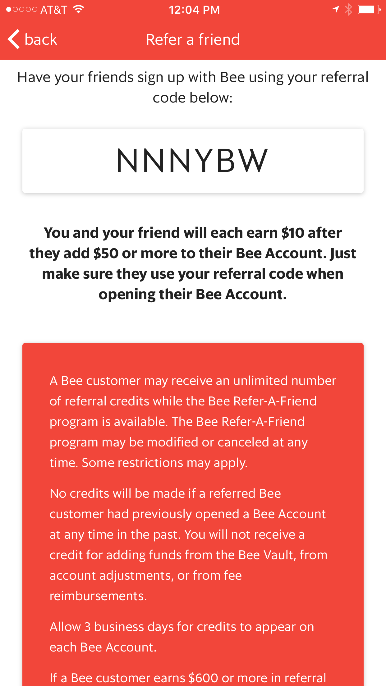 Get $10 FREE when you open a bank account with Bee and Deposit $50 No obligations just use code NNNYBW when you sign up and are prompted