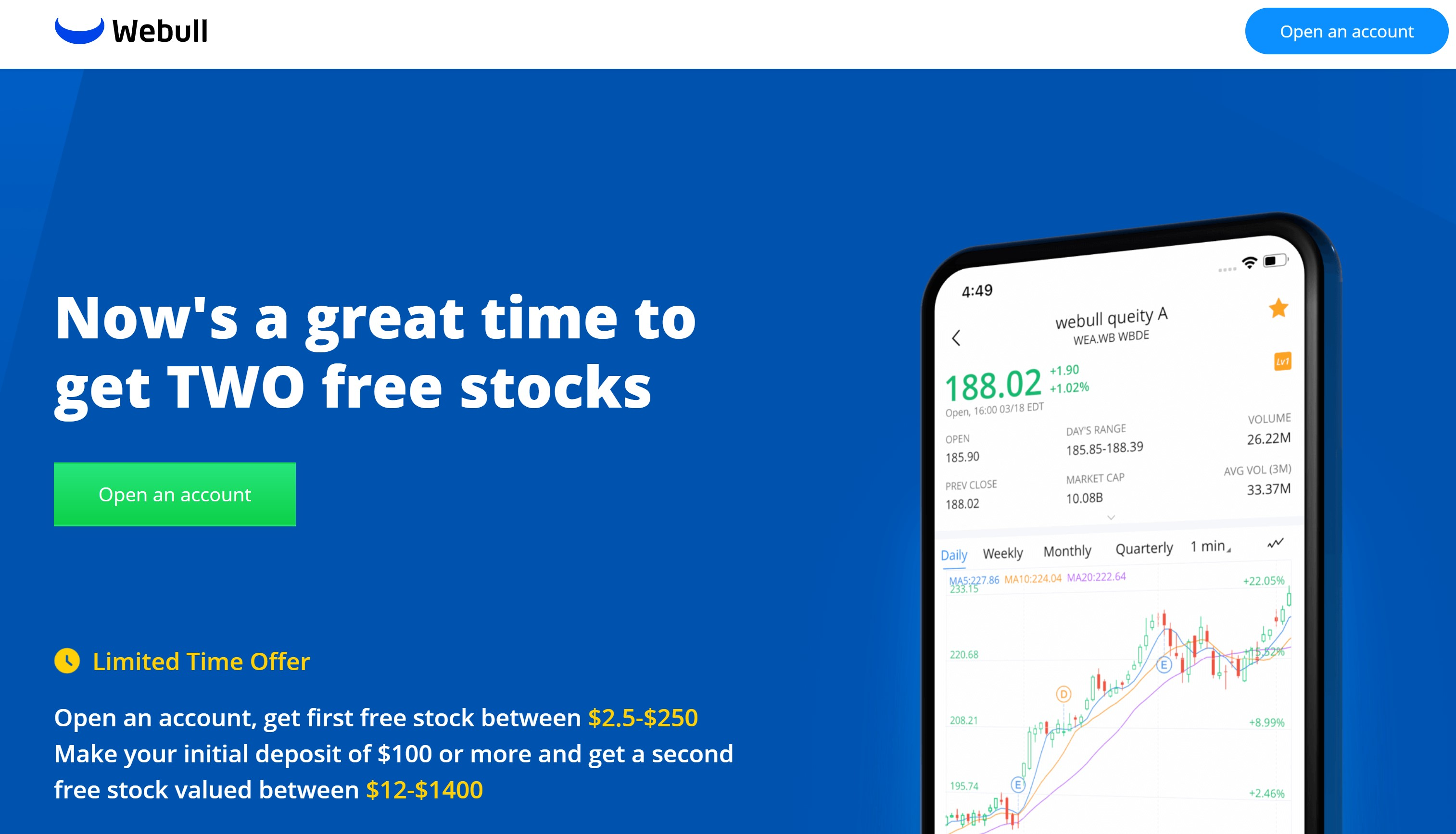 Get free stocks by signing up for a WeBull brokerage account using my referral link!