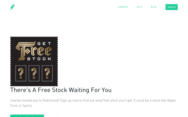 Sign up for Robinhood using my link and get a free share of stock worth $5-$150