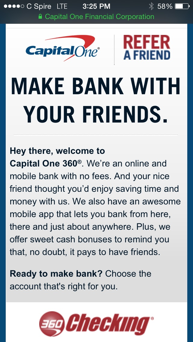 Get $25 Credit on Saving or Checking using my referral link