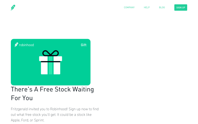 If anyone wants a free share of apple, Ford or Sprint when signing up for Robinhood, my link is available