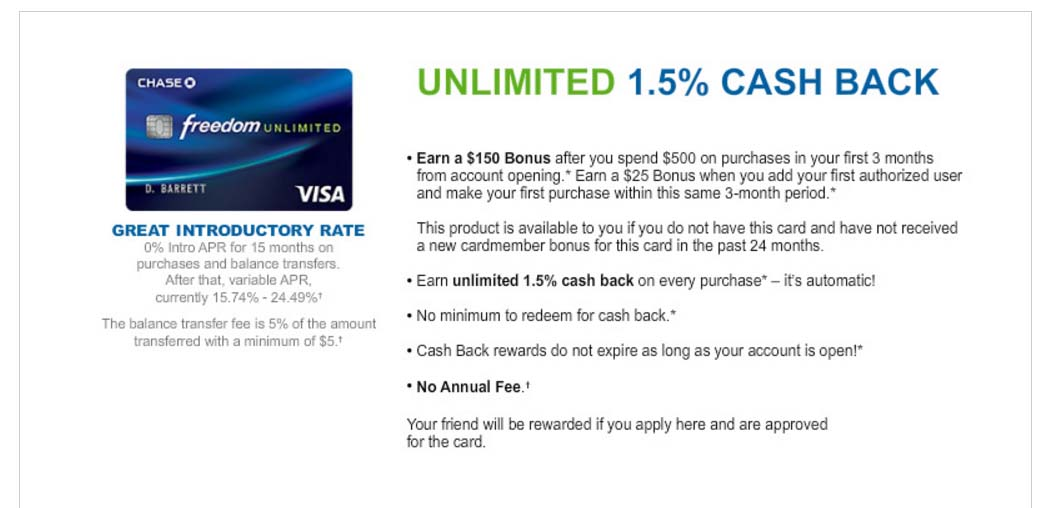 Get $150 bonus when you open a CHASE FREEDOM UNLIMITED CARD
