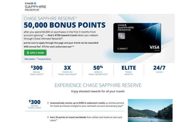 Earn 50,000 bonus points with Chase Sapphire Reserve.