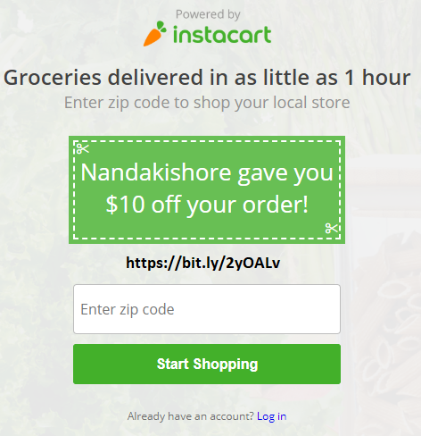 Get $10 gift card and free grocery delivery