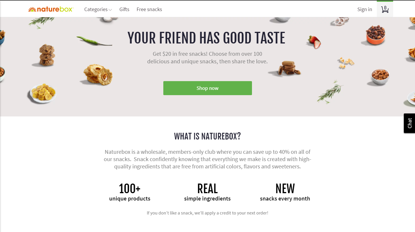 Get $20 of free snacks from Naturebox when you signup using my referral link