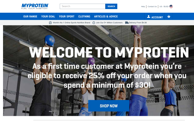 Get 25% off order at MyProtein (Fitness supplements, clothing, accessories, etc)