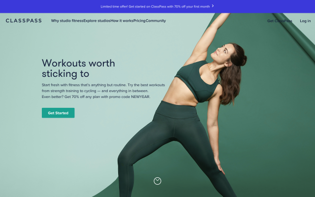 get$40 off your first month with Classpass