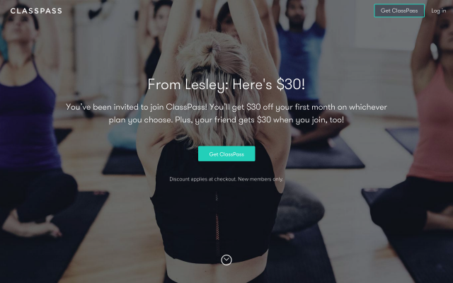 Classpass- $30 off your first month!