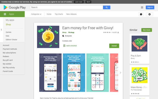 Get instant cash out from givvy app