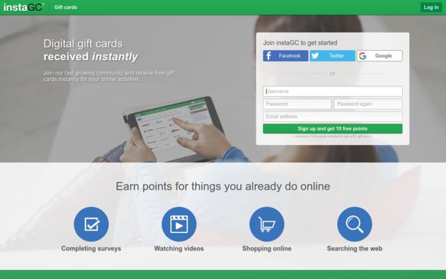 You receive 10 points for each person that signs up and confirms their account as well as 10% of what they earn.