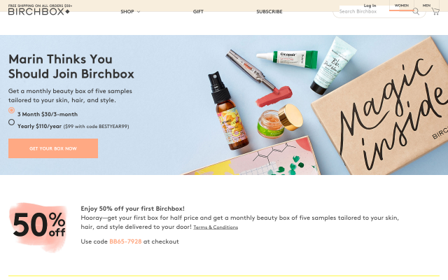 Get 50% off your first Birchbox