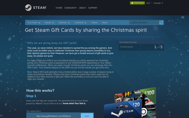 Steam Giftcards from 20$, 50$ and 100$