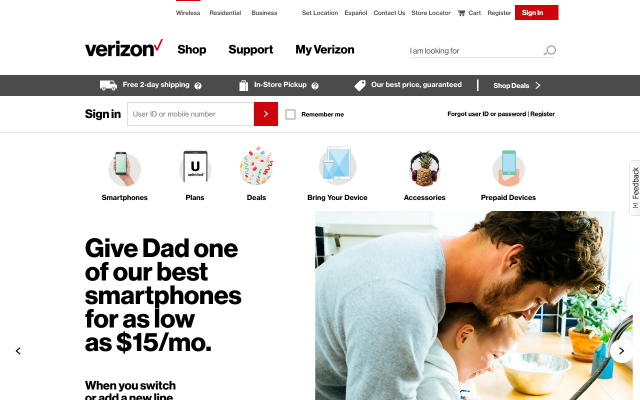 Get $50 for switching to Verizon.