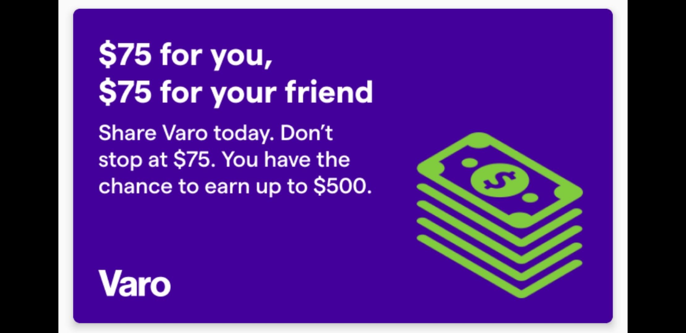 Varo $75 Bonus and $75 Referrals