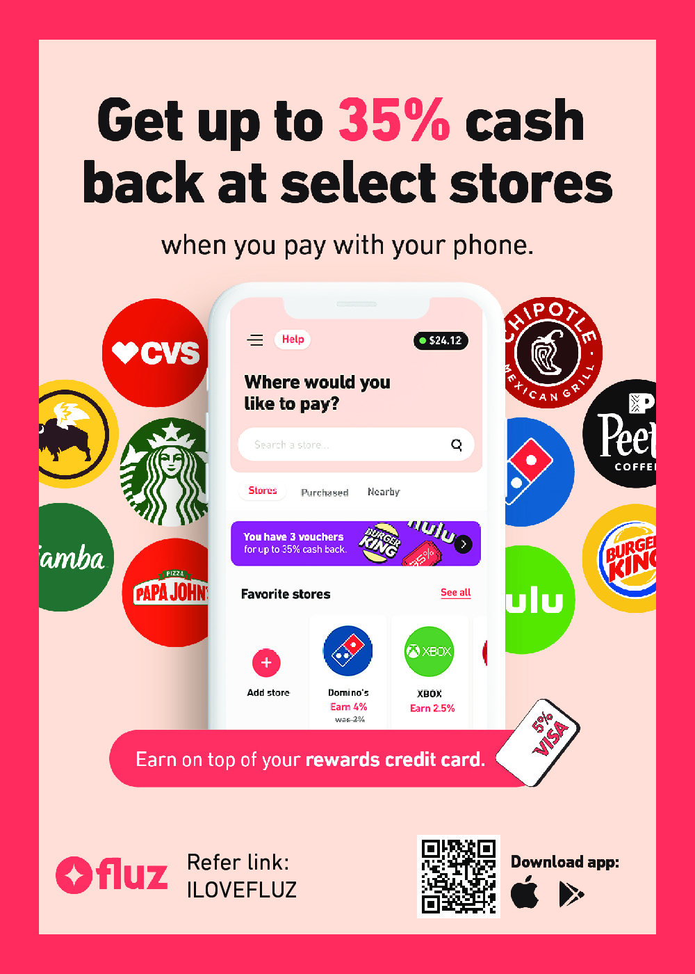 Sign-up using this referral and claim 3 boosted offers with up to 35% cash back on the first $10 you spend at select stores.