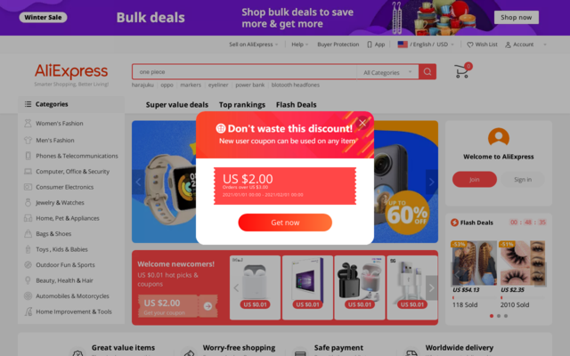 $4 off $5 or more for new user on Aliexpress