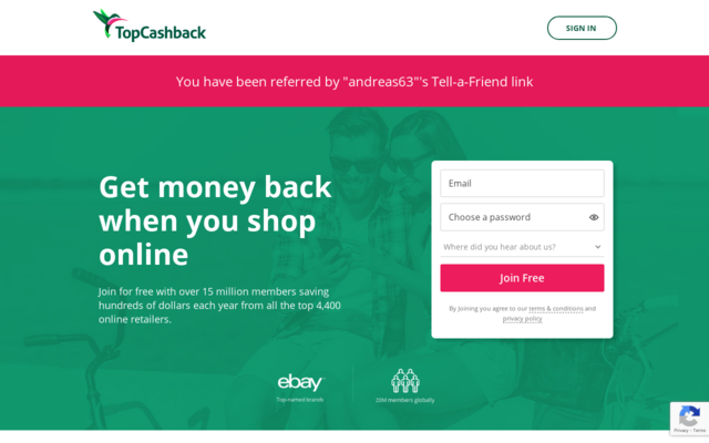 Join TopCash Back  you can get up to 10% or 20% cash back reward for signing up