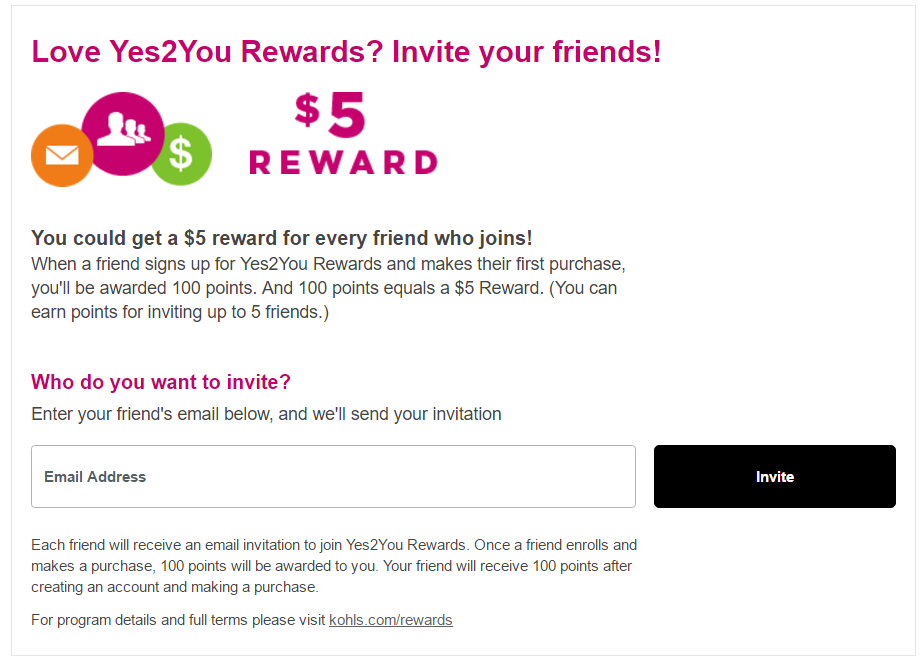 Get $5 when you signup to Kohls Yes2You Rewards Program using my referral - Click on Refer Me Now