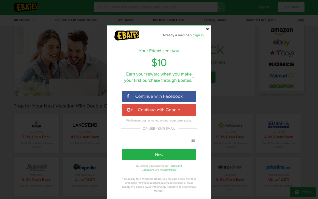 $10 Back with Ebates