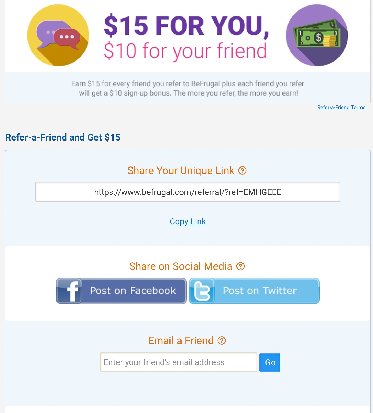 $10 Signup Bonus for BeFrugal